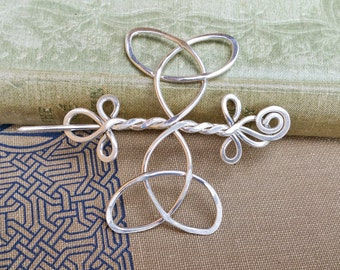 Celtic Trinity Knot Cross Sterling Silver Shawl Pin, Scarf Pin, Sweater Clip, Brooch, Celtic Jewelry, Women, Knitting and Hair Accessories