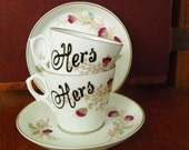 Hers and Hers hand painted vintage tea set recycled lesbian gay pride marriage wedding couples tea party