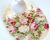 FLASH SALE - boutique baby bib floral pink roses floral bouquet fabric bib girl baby ivory minky #276