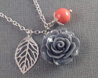 Coral and Gray Flower and Leaf Charm Wedding Bridesmaids Necklace