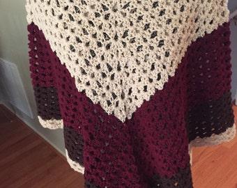 Woman's Crocheted Poncho, Crocheted Wrap, Handmade