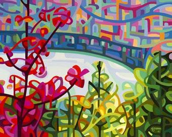 Fine Art Poster Print of an Original Abstract Acrylic Painting - Salmon Ridge