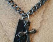 Pewter Cross and Fleur de Lis Necklace