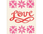 LOVE script block-printed valentine cards, set of 5 blank greeting cards