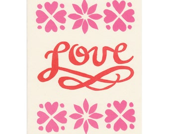 LOVE script letterpress greeting cards, set of five, made in Maine, block-print, linocut, pink, red, hearts, handmade, anniversary, pattern
