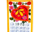 SALE Heart Tea Towel Calendar Tea Towel Vintage Kitchen Dish Towel 1970s Vintage Linens 1975 Calendar Red Hearts Orange Hearts Germany