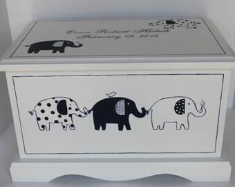 Baby keepsake box Navy Patterned elephant baby Keepsake Chest  memory box personalized baby gift hand painted