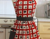 Apron Retro Style Cat in Window Red CHLOE Full Apron