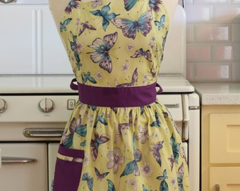 Apron Retro Style Butterflies on Yellowish Green CHLOE Full Apron