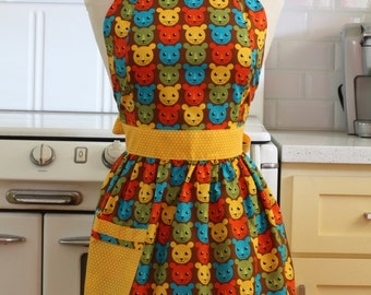 Apron Retro Style Animal Faces CHLOE Full Apron