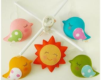 BIRD PARADE Musical Baby Mobile with Design Selection Rainbow, Cloud, Sun, Moon, Tree, Heart, Hanging Crib Baby Mobile, Bird Theme Decor