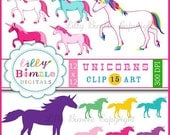 40% off Unicorn clipart for birthdays, crafts and design. Rainbow Unicorns and Silhouettes INSTANT DOWNLOAD