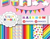 80% off Rainbow party clipart cupcake, cake, bunting for cards, invites. Commercial USE digital papers and clipart INSTANT DOWNLOAD