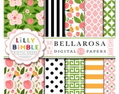 50% off Floral digital scrapbook papers with roses, flowers, buds, leaves modern paper pack Bellarosa INSTANT DOWNLOAD