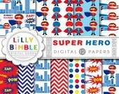 50% off sale Superhero digital papers for birthdays, scrapbooking. Commercial use included paper pack DOWNLOAD