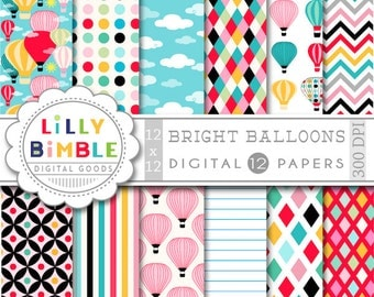 50% off Hot Air Balloons digital papers Balloons bright colors birthday invites, cardmaking,Bright Balloons, Instant Download