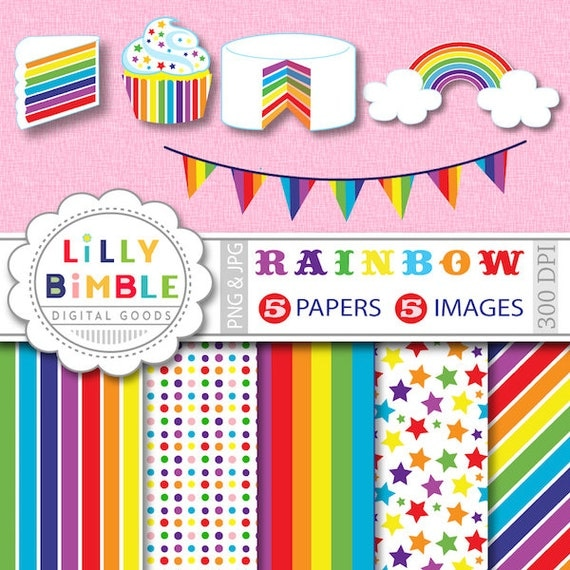 40% off Rainbow party clipart cupcake, cake, bunting for cards, invites. Commercial USE digital papers and clipart INSTANT DOWNLOAD