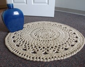 Natural Ivory Linen Colored Circle Doily Rug - Wall Hanging - Farmhouse - Shabby Chic - Cottage Chic - BOHO - Optional Non-Slip Backing