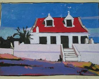 Island House, Orignal Acrylic Landscape Painting on Paper, Stooshinoff