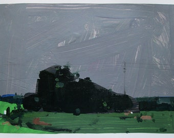 Evening Rain, June 30, Original Landscape Collage Painting on Paper, Stooshinoff