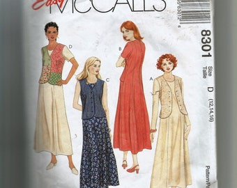 McCall's Misses' Dress With Mock Vest Pattern 8301