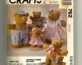McCall's Bear Doll and Clothes Pattern 762