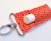 Chapstick holder, lip balm holder, chapstick keychain, lip balm key fob, Pink and Lime Honeycomb