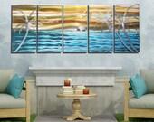 NEW! Aqua & Gold Tropical Metal Painting - Abstract Metal Wall Art - Nautical Decor, Ocean, Beach, Island Scene - Tangerine Sky by Jon Allen
