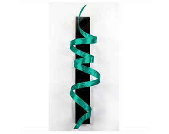 Teal (Blue Green) Metal Wall Sculpture - Abstract Metal Art - Large 3D Metallic Hanging - Handmade Twist Decor- Aqua Knight by Jon Allen