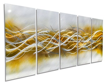 Gold & Silver Painted Metal Art - Modern Metal Painting - Abstract Home Decor - Blades of Harvest by Jon Allen