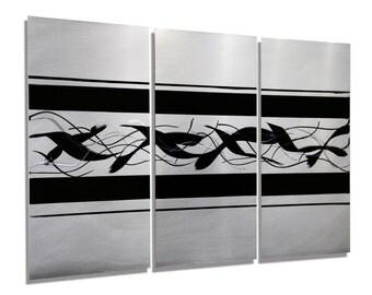 NEW! Silver & Black 3 Piece Modern Metal Painting - Birds Wall Sculpture - Contemporary Metal Artwork - Home Accent - Migration by Jon Allen