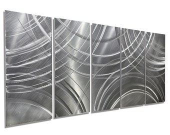 Silver Modern Metal Wall Sculpture - Contemporary Painting - Abstract Home Decor - Metallic Wall Hanging - Amplify by Jon Allen