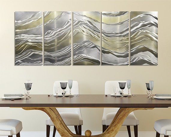 Items similar to gold silver metal panel painting for Modern accent decor