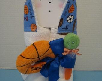 Hooded Towel gift set/Slam Dunk Basketball Baby Rattle/ Warm and Cozies /Baby Shower gift/New baby gift/baseball/football/soccor