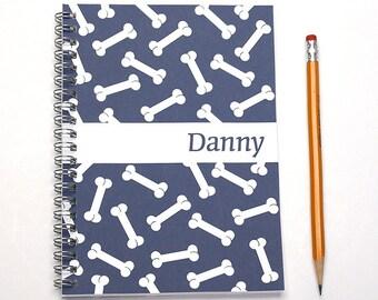 Custom 2016 planner for dog lover, weekly planner, personalized daily calendar, daily log, dog owner gift, SKU: pl dog bones white