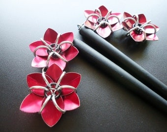 Pair of Black Six Inch Wooden Hair Sticks with Metallic Red Flowers