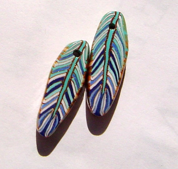 Unique  Blue Turquoise Feather Handmade Artisan Polymer Clay Beads