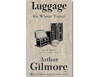 Vintage Luggage ad fridge Magnet kitchen refrigerator magnet on linen