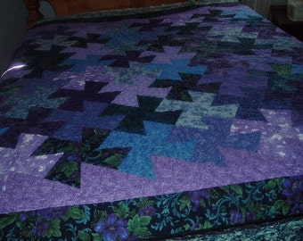 Swirling Pinwheels in Purples and Blues Finished Quilt 74 x 74 inches