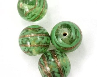 14mm Peridot/Gold Swirl Lampwork Bead (4 Pcs) #3147