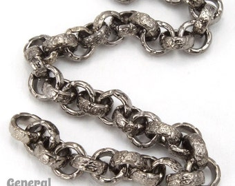 6.3mm Gunmetal Textured Vintage Style Rolo Chain #CC253