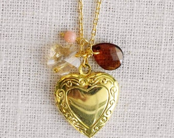CLEARANCE . coffee blossom . gold heart locket charm necklace (bits and pieces sale)