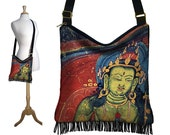 Bohemian Gypsy Bag, Fringe Purse, Hippie Bag, Asian Cross Body Hobo Bag, Sling Crossbody Purse, Buddha Art Boho Bag, red blue green RTS
