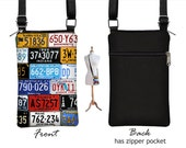 iPhone 6 / Plus Smartphone Purse, Cell Phone Case, Small Cross Body Bag, Old License Plate,  zipper pocket, cute colorful RTS