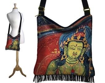 Bohemian Gypsy Bag, Fringe Purse, Hippie Bag, Asian Cross Body Hobo Bag, Sling Crossbody Purse, Buddha Art Boho Bag, red blue green RTS