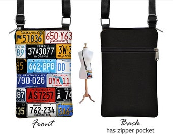 CLEARANCE iPhone 6 / Plus Smartphone Purse, Cell Phone Case, Small Cross Body Bag, Old License Plate,  zipper pocket, cute colorful MTO