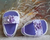 American Girl Doll Clothes Sandals Lavender Shoes With White Lace Accents