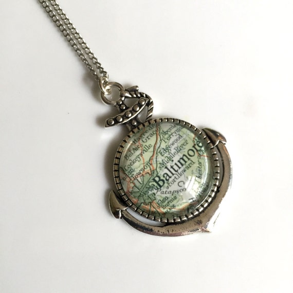 Glass Cabochon Anchor  Pendant - Baltimore Maryland Map