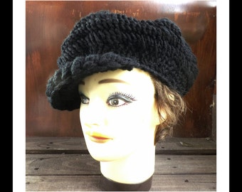 Crochet Hat Womens Hat, Crochet Newsboy Hat, Brimmed Beanie Hat, Black Hat, Crochet Winter Hat, ANNIE Newsboy Hat Womens