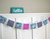 Fabric Banner, Garland, Pennant - Blue Purple Turquoise Navy